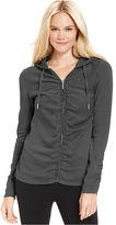 Calvin Klein Long-Sleeve Ruched Zippered Hoodie