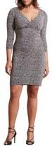 Lauren Ralph Lauren Tweed Print Empire Waist Jersey Dress (Plus Size)