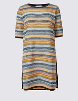 Marks and Spencer Cotton Blend Striped Tunic Jumper