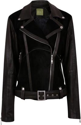 Zut London Classic Combined Suede & Leather Biker Jacket With Belt & Buckle - Black