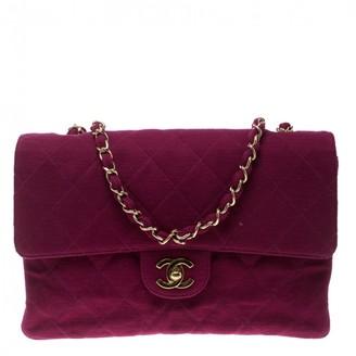 Chanel Timeless/Classique Purple Cloth Handbags