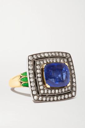 Amrapali 18-karat Gold, Sterling Silver, Sapphire, Diamond And Enamel Ring - 6