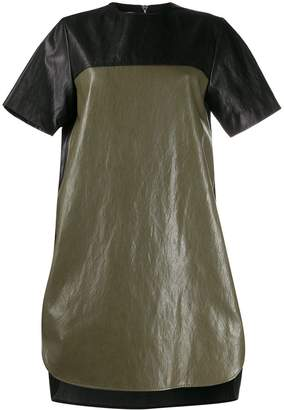 Cédric Charlier two-tone faux-leather dress