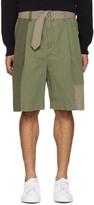3.1 Phillip Lim Green Patchwork Oversized Shorts