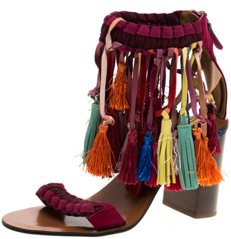 Chloé Multicolor Leather And Suede Tassel Detail Block Heel Sandals Size 39