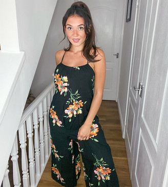 New Look Maternity wide leg jumpsuit in black floral
