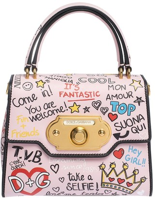 Dolce & Gabbana Light Pink Mural Print Leather Small Welcome Satchel Bag