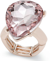 Thalia Sodi Rose Gold-Tone Pink Crystal Stretch Ring, Only at Macy's