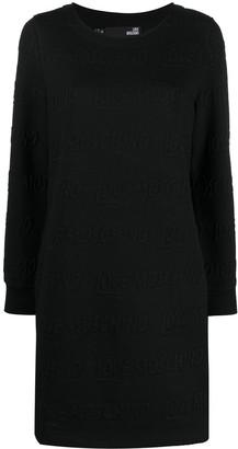 Love Moschino Logo Pattern Fleece Dress