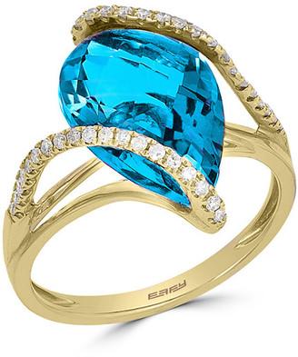 Effy Fine Jewelry 14K 6.28 Ct. Tw. Diamond & Blue Topaz Ring