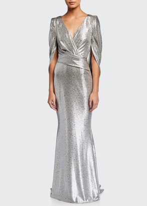 Talbot Runhof Gathered Stretch Jersey Mirrorball Gown