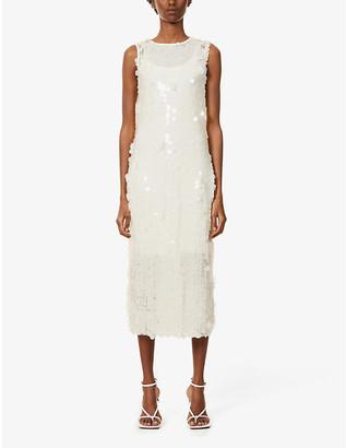 NEVER FULLY DRESSED Sequin-embellished mesh midi dress