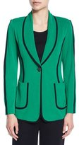 Misook Modern Piped One-Button Jacket