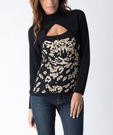 Yuka Paris Black & Beige Keyhole Sweater