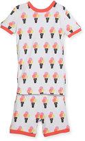 Petit Lem Ice-Cream Top & Shorts Pajama Set, Off White, Size 5-6X