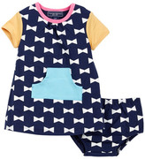 Toobydoo Happy Bows Kangaroo Pocket Dress (Baby & Toddler Girls)