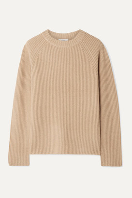 Vince Shaker Ribbed Cashmere Sweater - Beige