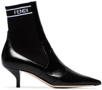 Fendi Panelled Pointed Toe Ankle Boots