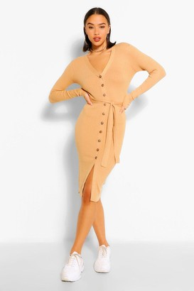 boohoo Belted Rib Knit Button Through Midi Dress