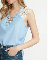 Express Lace Sleeve Lace-up Blouse