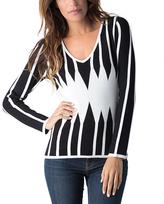 Yuka Paris Black & Ivory Stripe V-Neck Sweater