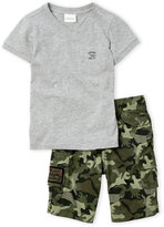 Diesel Toddler Boys) Two-Piece Logo V-Neck Shirt And Camouflage Print Pants Set
