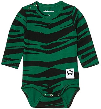 Mini Rodini Tiger Long Sleeve Bodysuit (Infant) (Green) Kid's Jumpsuit & Rompers One Piece