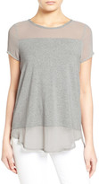 Vince Camuto Short Sleeve Mixed Media Top (Petite)