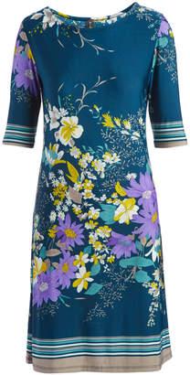 Modern Touch Women's Casual Dresses Teal - Teal & Purple Floral Shift Dress - Women