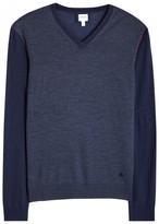 Armani Collezioni Dark Blue Fine-knit Wool Jumper