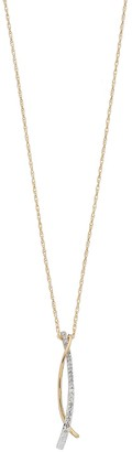 14k Gold Over Silver 1/5 Carat T.W. Diamond Curved Bar Pendant