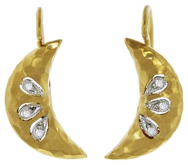 349606c3d8dcd Diamond Crescent Moon Earrings - Yellow Gold