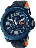 HUGO BOSS BOSS Orange Men's 'NEW YORK' Quartz Resin and Canvas Casual Watch