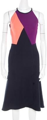 Roland Mouret Colorblock Stretch Crepe Kennard Halter Dress S