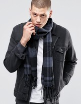 Asos Woven Scarf In Black And Gray Check