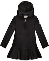 Moncler Hooded Cotton Stretch Flounce Dress, Black, Size 8-14