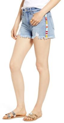 Tinsel Stripe Cutoff Denim Shorts