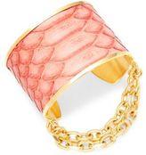 Paige Novick Natalie Python Leather Chain Cuff Bracelet