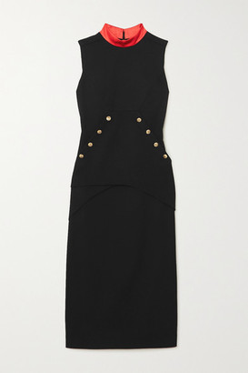 Givenchy Button-embellished Satin-trimmed Wool-crepe Midi Dress - Black