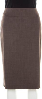 Boss By Hugo Boss Brown Stretch Wool Pencil Skirt M