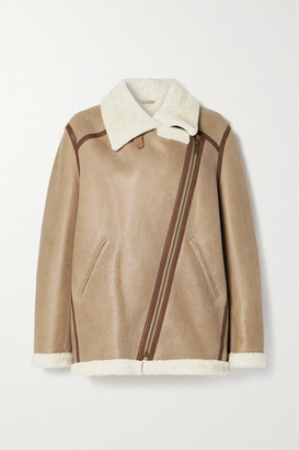 Etoile Isabel Marant Azare Leather-trimmed Shearling Jacket - Beige