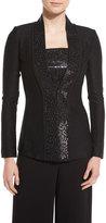 St. John Shimmery Twill Knit Jacket, Caviar