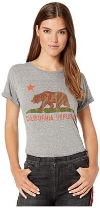 Original Retro Brand The Vintage Mocktwist Rolled Short Sleeve California Republic Tee (Mocktwist Heather Grey) Women's Clothing
