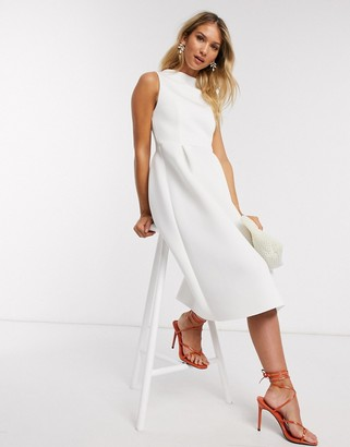ASOS DESIGN high neck sleeveless midi prom dress with lace up back in white