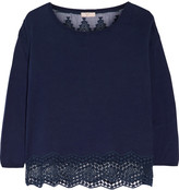 Joie Jenka lace-paneled silk and cotton top