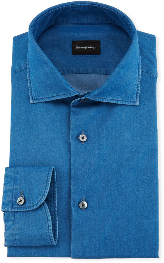 Ermenegildo Zegna Denim Chambray Dress Shirt