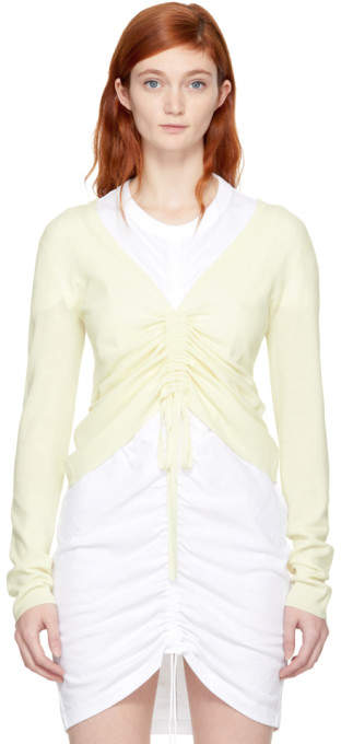 Alexander Wang Ivory Merino Ruched Sweater