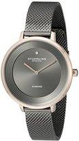Stuhrling Original Women's 589.04 Symphony Grey And Rose-Tone Stainless Steel Diamond Watch