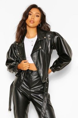 boohoo Oversized Sleeve Faux Leather Jacket