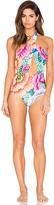 Mara Hoffman Cross Front Halter One Piece Swimsuit